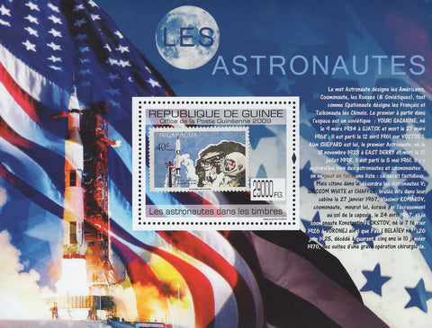 Guinea Stamp in a Stamp Astronauts USA Flag Souvenir Sheet MNH