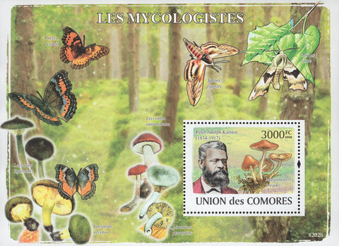 Mycologists Fungi Mushrooms Science Butterflies Souvenir Sheet Mint NH