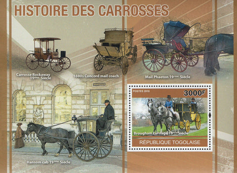 Carriages History Horses Souvenir Sheet Mint NH