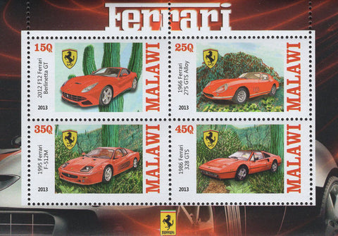 Malawi Ferrari Luxury Cars Souvenir Sheet of 4 Stamps Mint NH