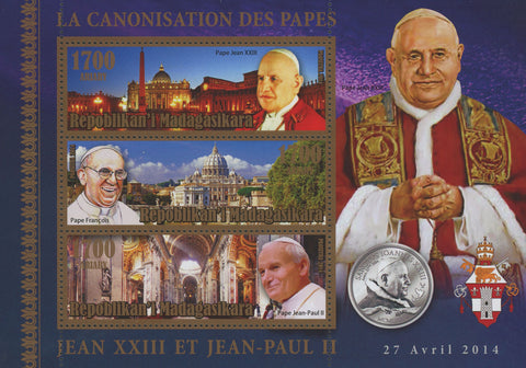 Pope Canonization Christian Catholic Religion Souvenir Sheet of 3 MNH