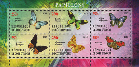 Cote D'Ivoire Butterflies Souvenir Sheet of 6 Stamps Mint NH