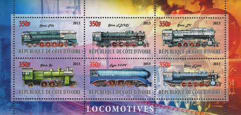 Cote D'Ivoire Trains Locomotive Souvenir Sheet of 6 Stamps MNH