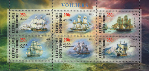 Cote D'Ivoire Sailboats Souvenir Sheet of 6 Stamps Mint NH
