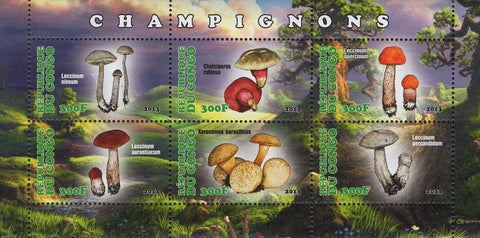Congo Mushrooms Nature Souvenir Sheet  of 6 Stamps Mint NH