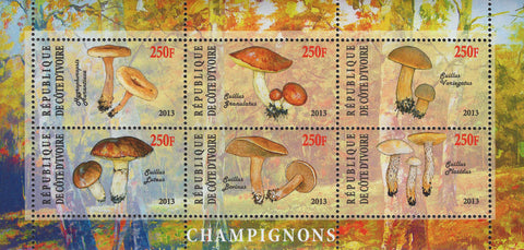 Cote D'Ivoire Mushrooms Nature Souvenir Sheet  of 6 Stamps Mint NH