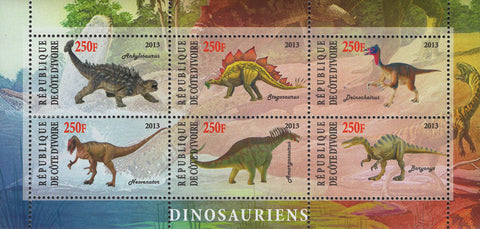 Cote D'Ivoire Dinosaur Souvenir Sheet of 6 Stamps Mint NH