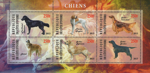 Cote D'Ivoire Dogs Domestic Animals Souvenir Sheet of 6 Stamps Mint NH