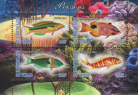 Chad Fish Corals Marine Life Souvenir Sheet of 4 Stamps Mint NH