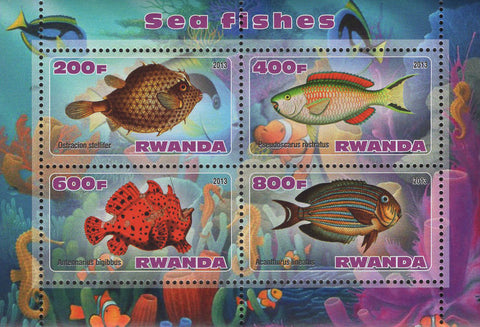 Sea Fish Corals Marine Life Souvenir Sheet of 4 Stamps Mint NH
