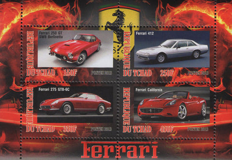 Ferrari 250 GT Italian Luxury Cars Souvenir Sheet of 4 Stamps Mint NH