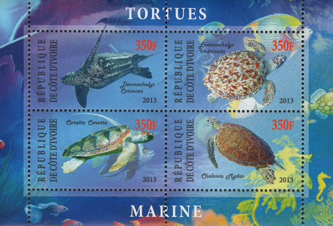 Cote D'Ivoire Marine Turtles Souvenir Sheet of 4 Stamps Mint NH