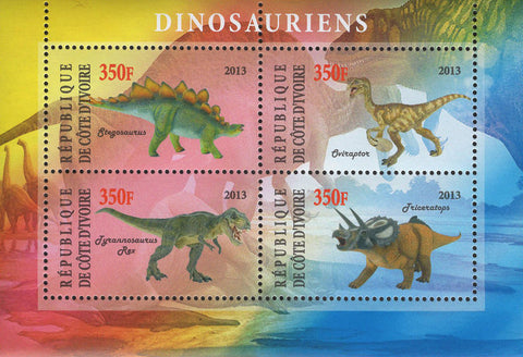 Cote D'Ivoire Dinosaur Souvenir Sheet of 4 Stamps Mint NH
