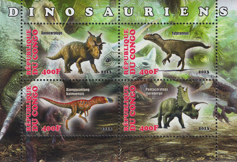Congo Dinosauriens Souvenir Sheet of 4 Stamps Mint NH