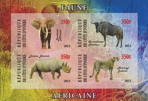 Cote D'Ivoire Wild Animals Elephant Imperforated Souvenir Sheet of 4 stamps Mint