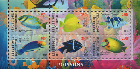 Cote D'Ivoire Fish Corals Marine Life Souvenir Sheet of 6 Stamps Mint NH