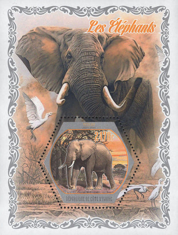 Cote D'Ivoire Elephants Wild Animals Trees Souvenir Sheet Mint NH