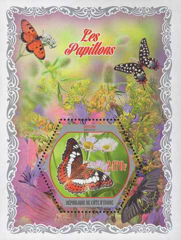 Cote D'Ivoire Butterflies Flowers Plants Souvenir Sheet Mint NH