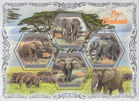 Cote D'Ivoire Elephants Wild Animals Trees Souvenir Sheet of 4 Stamps Mint NH