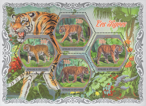Cote D'Ivoire Tigers Wild Animal Jungle Trees Souvenir Sheet of 4 Stamps MNH