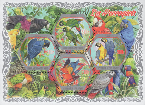 Cote D'Ivoire Parrots Birds Jungle Souvenir Sheet of 4 Stamps Mint NH