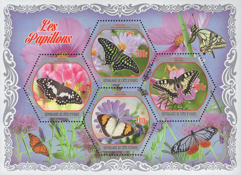 Cote D'Ivoire Butterflies Flowers Plants Souvenir Sheet of 4 Stamps Mint NH