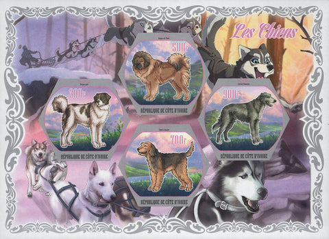 Cote D'Ivoire Dogs Domestic Animals Sled Souvenir Sheet of 4 Stamps Mint NH