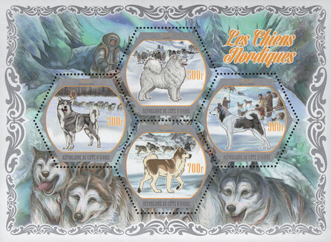Cote D'Ivoire Northern Nordic Dogs Snow Souvenir Sheet of 4 Stamps Mint NH