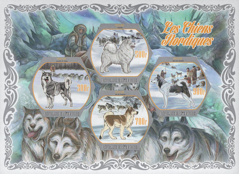 Cote D'Ivoire Northern Nordic Dogs Snow Imperforated Souvenir Sheet of 4 Stamps