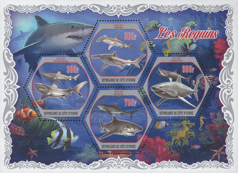 Sharks Ocean Fish Corals Fauna Souvenir Sheet of 4 Stamps Mint NH