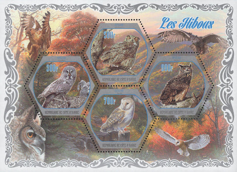 Cote D'Ivoire Owls Birds Trees Mountains Souvenir Sheet of 4 Stamps Mint NH