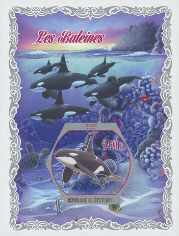 Cote D'Ivoire Whales  Marine Fauna Imperforated Souvenir Sheet Mint NH