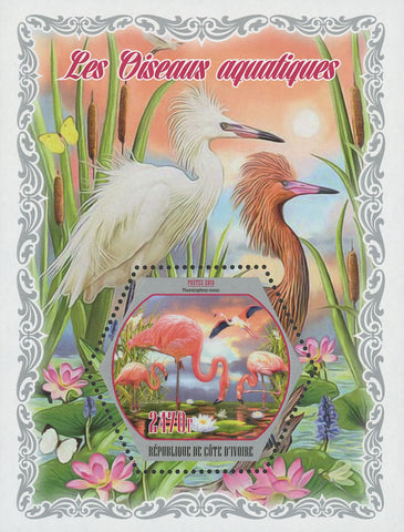 Cote D'Ivoire Sea Birds Flamingo Fauna Souvenir Sheet Mint NH