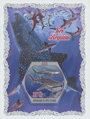 Cote D'Ivoire Sharks Fish Ocean Fauna Souvenir Sheet Mint NH