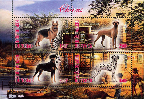 Chad Dog Domestic Animal Dalmatian Souvenir Sheet of 4 Stamps