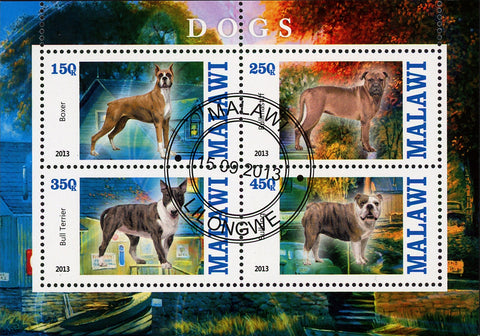 Malawi Dog Domestic Animal House Trees Souvenir Sheet of 4 Stamps