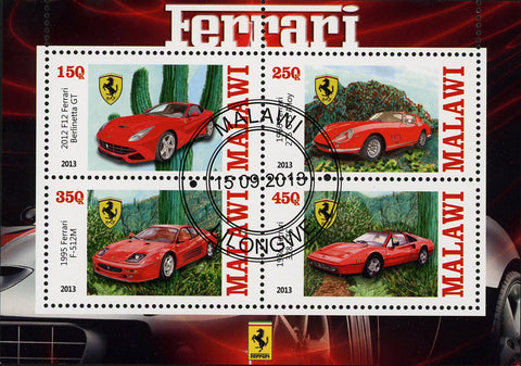 Malawi Ferrari Cars Transportation Competition Luxury Souvenir Sheet of 4 Stamps