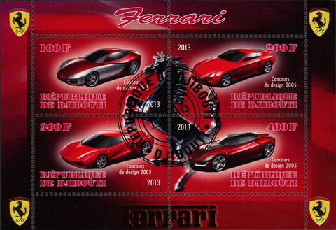 Ferrari Cars Transportation Competition Luxury Souvenir Sheet of 4 Stamps
