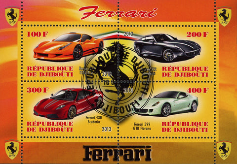 Ferrari Car Transportation Luxury Souvenir Sheet of 4 Stamps