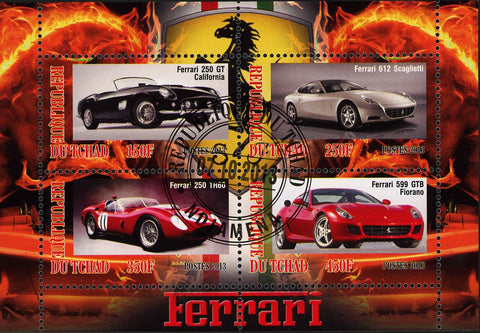 Ferrari Car Transportation Luxury Fire Souvenir Sheet of 4 Stamps