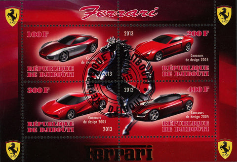 Ferrari Car Transportation Luxury Horse Symbol Souvenir Sheet of 4 Stamps