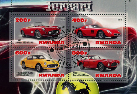 Ferrari Car Transportation Luxury High Speed Souvenir Sheet of 4 Stamps MNH