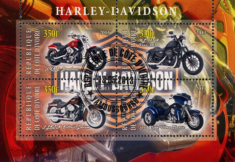 Congo Motorcycle Harley Davidson Tri Glide Ultra Classic Souvenir Sheet of 4 MNH