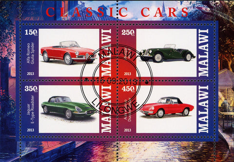 Malawi Classic  Vintage Car Jaguar Alfa Romeo Souvenir Sheet of 4 Stamps