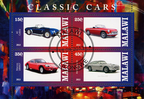 Malawi Classic  Vintage Car AC Cobra GT Souvenir Sheet of 4 Stamps
