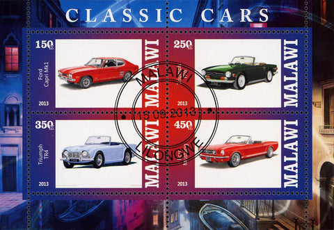 Malawi Classic  Vintage Car Ford Triumpg Souvenir Sheet of 4 Stamps