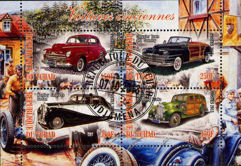Antique Classic  Vintage Car Souvenir Sheet of 4 Stamps