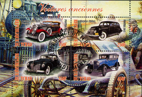 Antique Classic  Vintage Car Transportation Souvenir Sheet of 4 Stamps