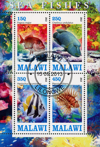 Malawi Fish Pagrus Major Coral Marine Fauna Ocean Life Souvenir Sheet of 4 Stamp