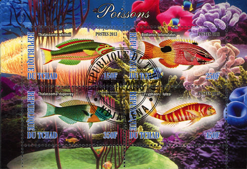 Fish Coral  Ocean Life Marine Fauna Souvenir Sheet of 4 Stamps
